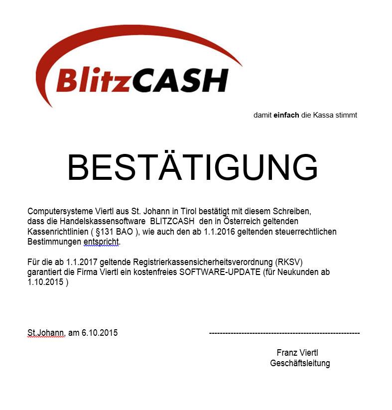 BlitzCash - Bestätigung